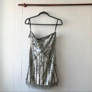 NBD Dresses - NWT X by NBD Diego Silver Fully Beaded Mini Dress